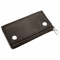 Supersoft Black Leather Biker Wallet with Change Pouch