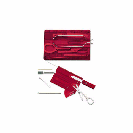 SwissCard with Visor Clip Swiss Army Card Translucent Ruby - Discontinued
