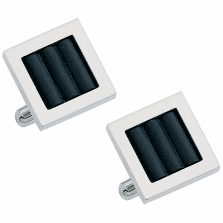 Synergy Collection Rubber Inset & Stainless Steel Cufflinks