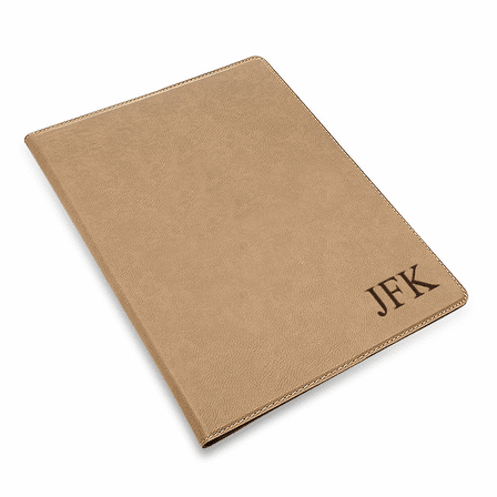 Tan Small Portfolio & Notebook with Personalized Initials