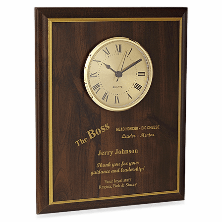 The Boss Recognition Wall Plaque with Clock