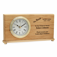 The Boss Red Alder Desk Clock