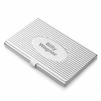 The Oval Engraved Stainless Steel Business Card Holder