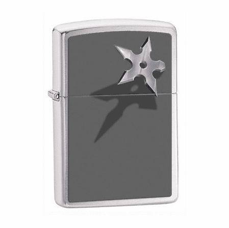 Throwing Star Brushed Chrome Zippo Lighter - ID# 28030