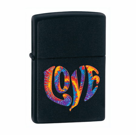Tie Die Love Black Matte Zippo Lighter - ID# 28045 - Discontinued