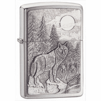 Timberwolves Emblem Brushed Chrome Zippo Lighter - ID# 20855