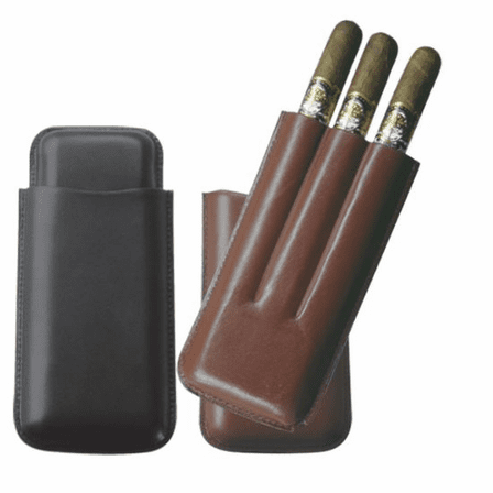 Top Grain Leather Three Finger Cigar Case