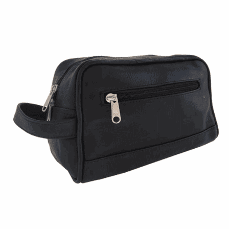 Top Zip Leather Toiletry Bag