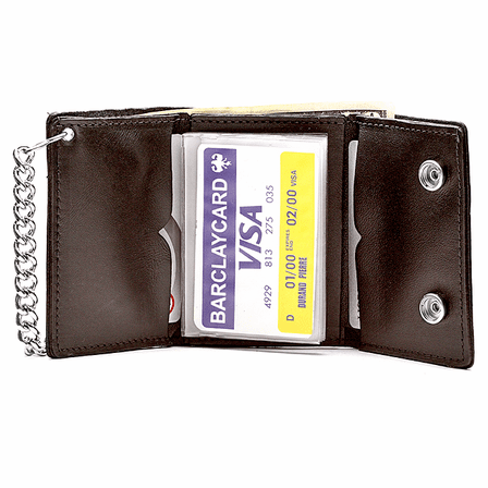 Trifold Biker Wallet with Chain