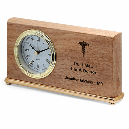Doctor's Personalized Wood Desk Clock