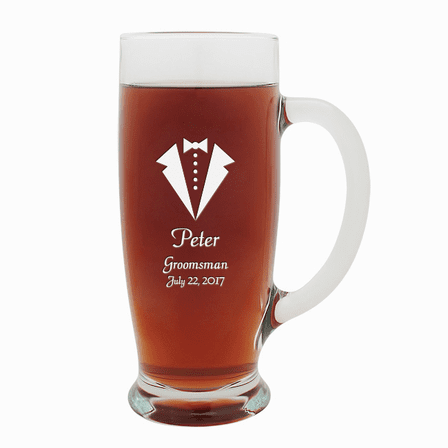 Tuxedo Theme  18 Ounce Pilsner Glass with Handle
