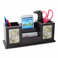 Twin Pencil Cup Desktop Organizer with Photo Frames
