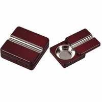 Twist Opening Cherry Wood Cigar Ashtray - Discontinued