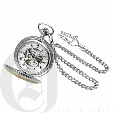 Two Tone Engraved Mechanical Charles Hubert Pocket Watch & Chain #3819