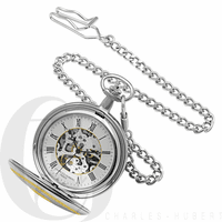 Two Tone Engraved Mechanical Charles Hubert Pocket Watch & Chain #3820 - Discontinued