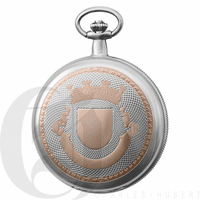Two Tone Rose Gold Engraved Charles Hubert Pocket Watch & Chain #3822