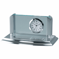 Two Tone Silver Business Card Holder & Clock - Free Engraving - Discontinued
