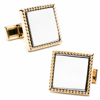 Two Tone Square Engraved Cufflinks - Discontinued