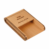 Two Tone Wooden Desktop Business Card Holder - Discontinued