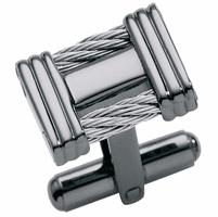 Underground Collection Black Ice & Stainless Steel Cable Cufflinks - discontinued