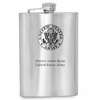 US Army Symbol Engraved Flask