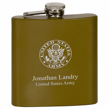 US Army Symbol Personalized Khaki Flask
