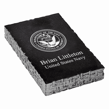 US Navy Emblem Personalized Black Marble Paperweight
