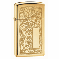 Venetian Slim High Polish Brass Zippo Lighter