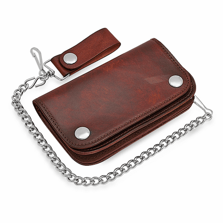 Vintage Brown Biker Wallet With Chain
