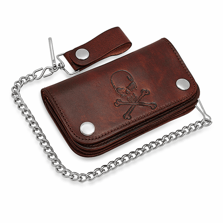 Vintage Brown Skull & Crossbones Biker Wallet & Chain