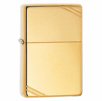 Vintage with Slashes High Polish Brass Zippo Lighter - ID# 270