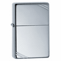 Vintage with Slashes Polished Chrome Zippo Lighter - ID# 260