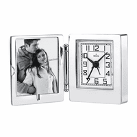 Voyager Travel Alarm Clock With Picture Frame by Bulova