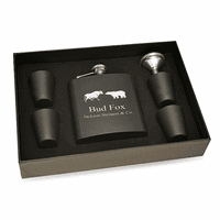 Wall Street Theme Personalized Black Flask & Shot Cups Gift Set