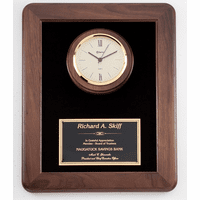 Walnut Plaque & Clock Combo - P900