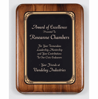 Walnut  Plaque With Black Brass Engraving Plate - PC584