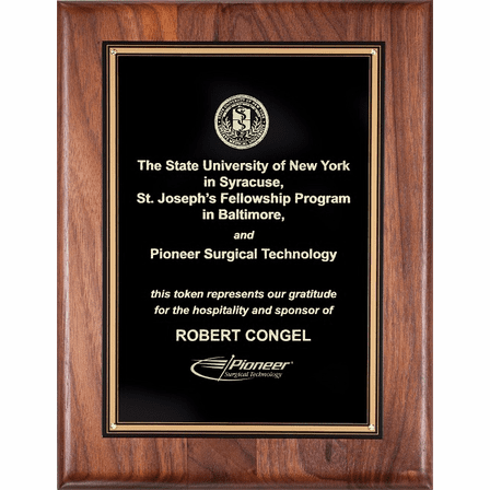 Walnut  Plaque With  Black Engraving Plate - P318