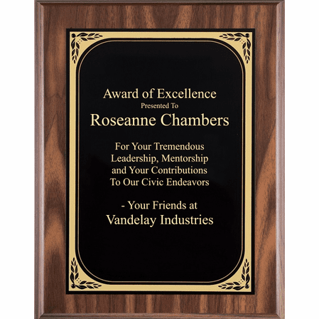 Walnut Plaque With  Black Engraving Plate - WF625
