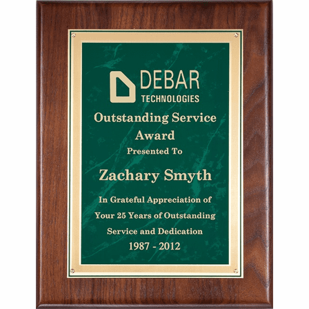 Walnut Plaque With  Green Marble Engraving Plate - PC500