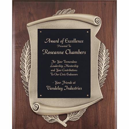 Walnut  Plaque With Scroll Design &  Engraving Plate