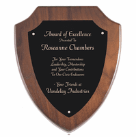 Walnut Shield Plaque With Black Brass Engraving Plate