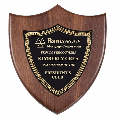 Walnut Shield Plaque With Black Brass Engraving Plate - Discontinued