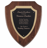 Walnut Shield Plaque With Black & Gold Engraving Plate