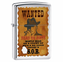 Wanted Dead or Alive High Polish Chrome Zippo Lighter - ID# 28289 - Discontinued