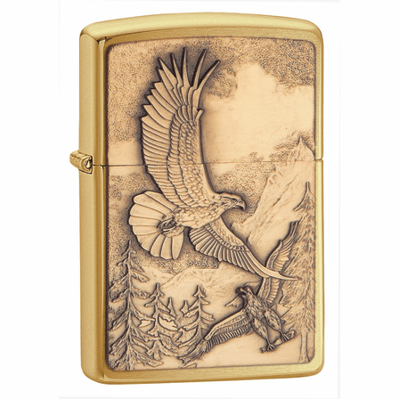 Where Eagles Dare Emblem Brushed Brass Zippo Lighter - ID# 20854