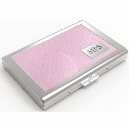 b9249ab859e3 Women's Pink Leather Engraved Business Card Case - Executive Gift Shoppe