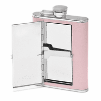 Women's Pink Leather Flask With Cigarette Case