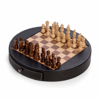 Wood & Leather Round Chess Set