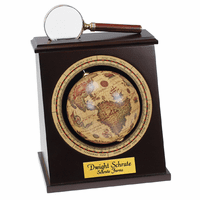 Working Globe Bookend with Magnifying Glass