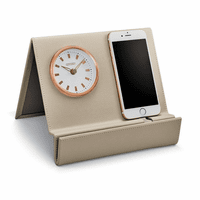 Workplace Collection Beige Leather Desk Clock & Phone Stand by Citizen